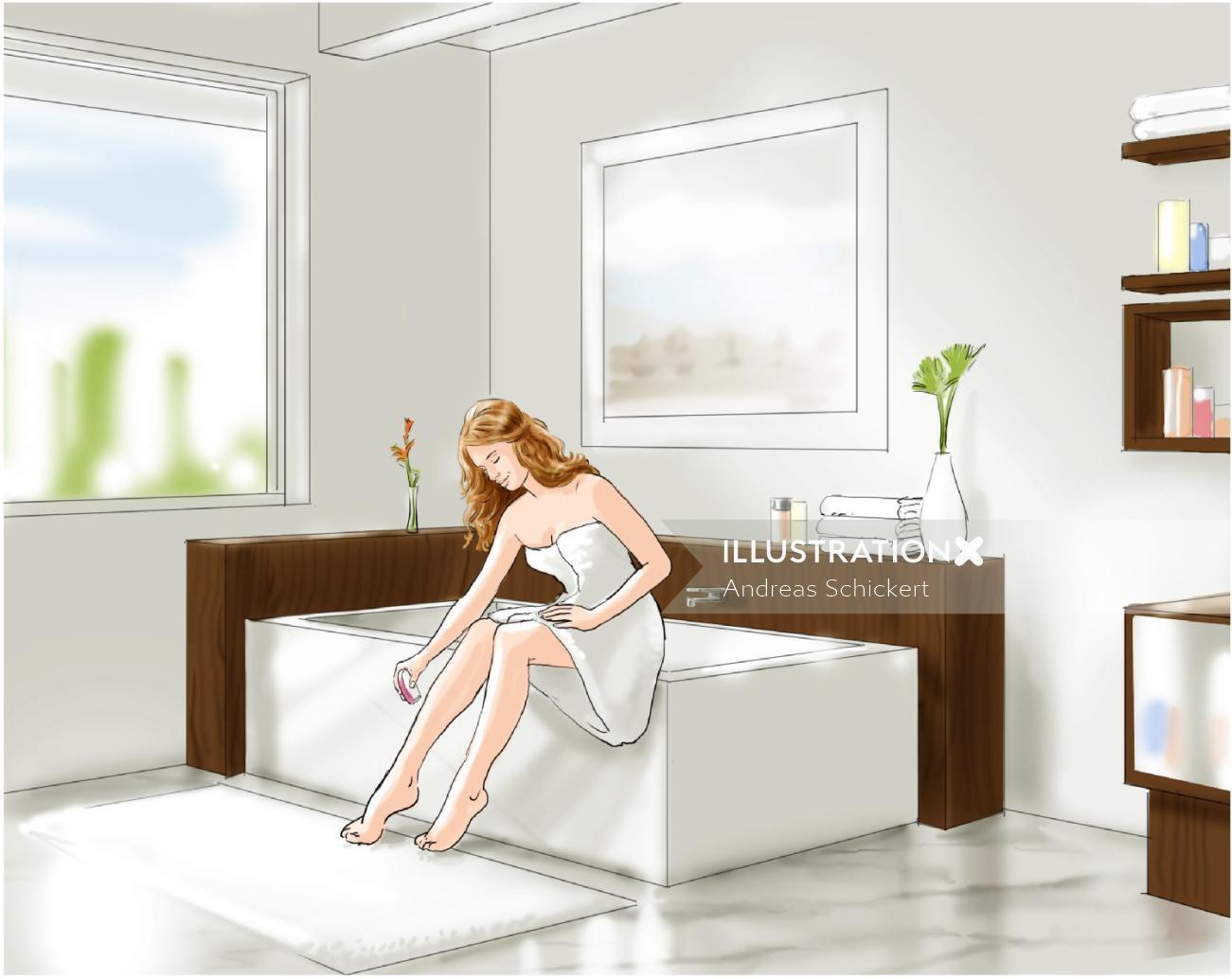 woman sitting in bathroom