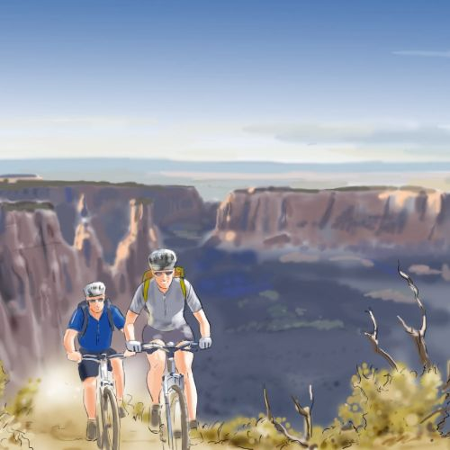 Cycling on mountain