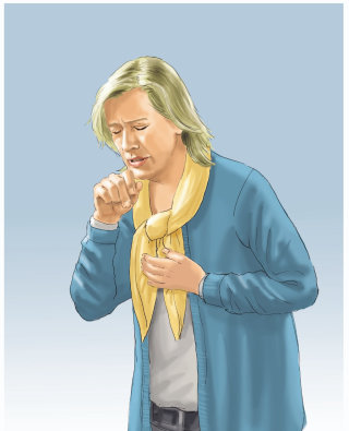 woman coughing illustration by Andreas Schickert