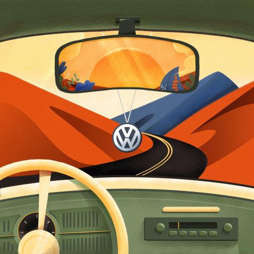 Ilustración para el anuncio de Volkswagen en la portada de la revista Yorokobu
