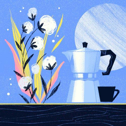 Editorial illustration of Stovetop Espresso Coffee Maker