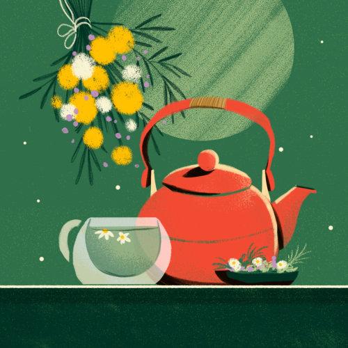 Ilustración contemporánea de tetera con taza