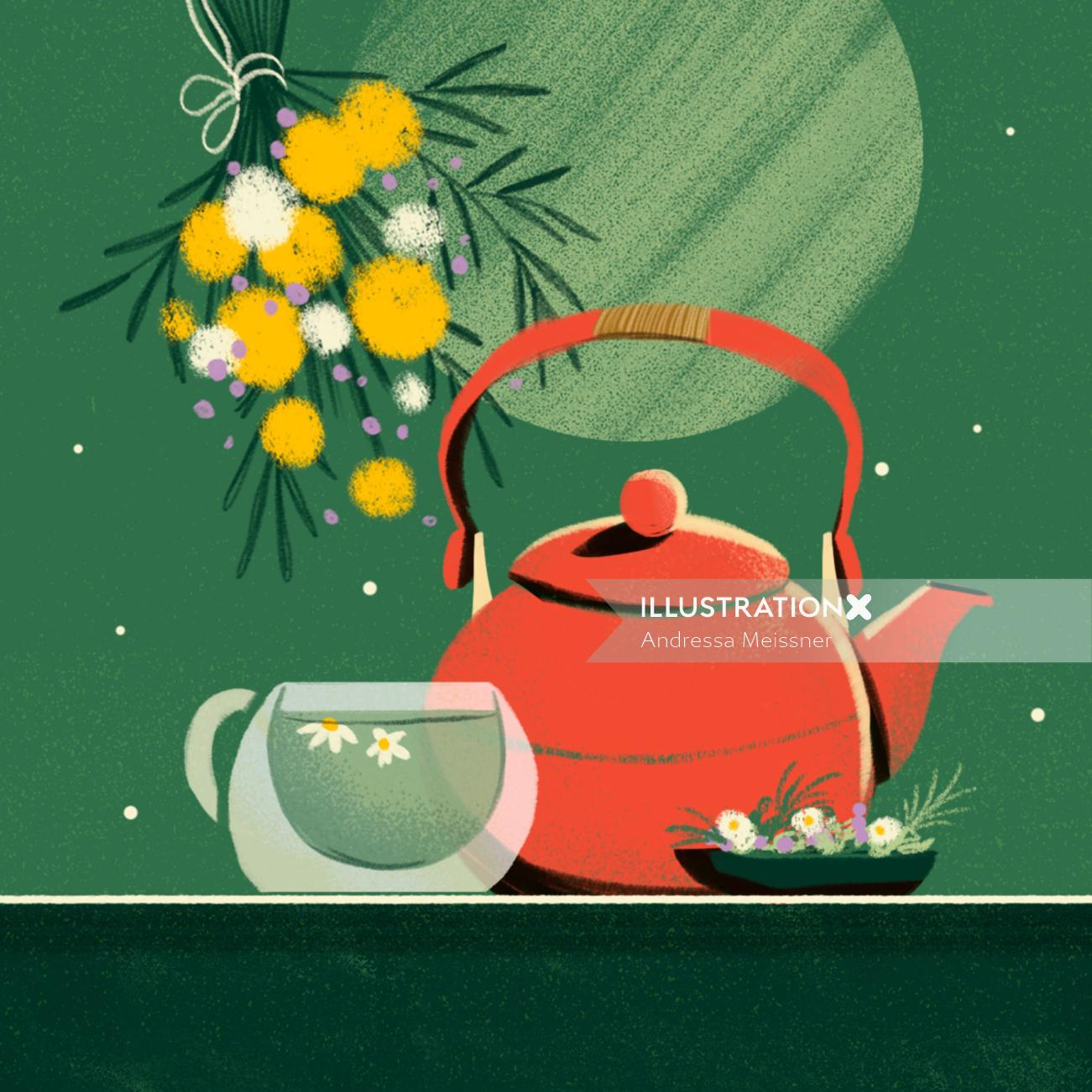 Contemporary illustration of teapot with cup