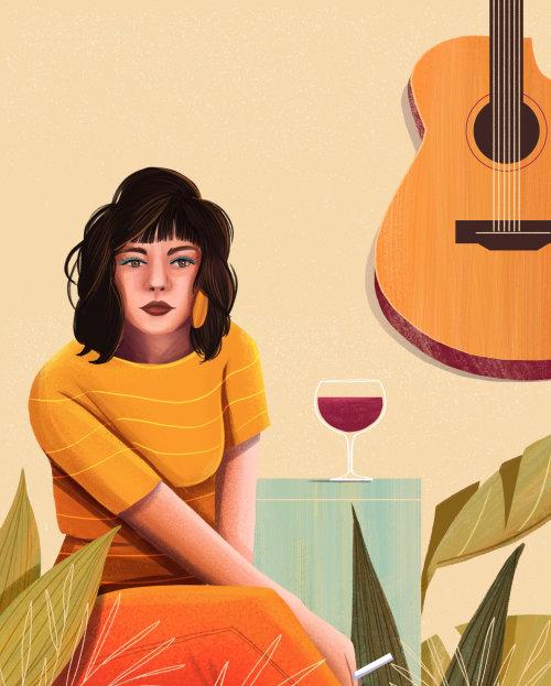 Pintura colorida de niña con una copa de vino