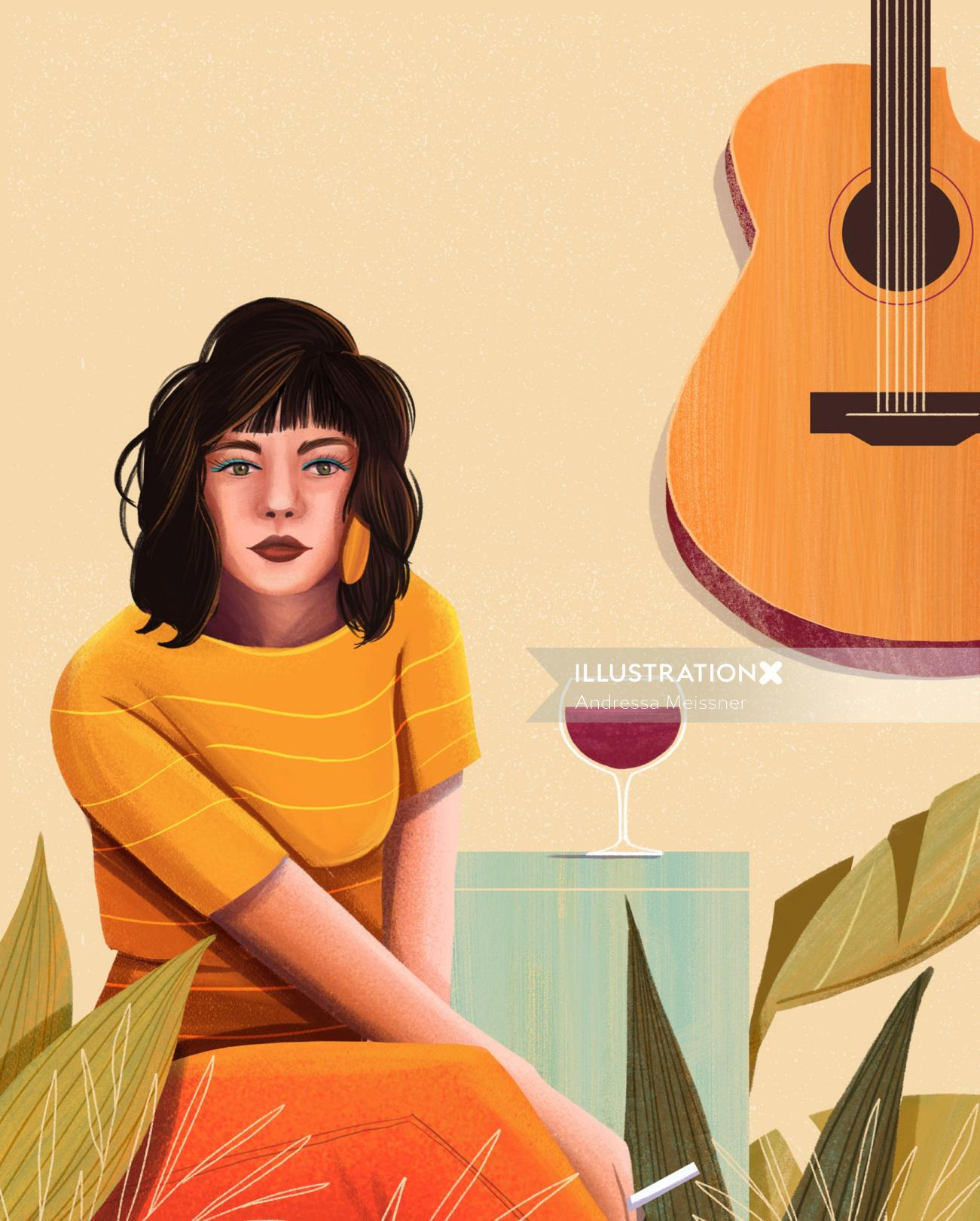 Colorful painting of young girl with a glass of wine