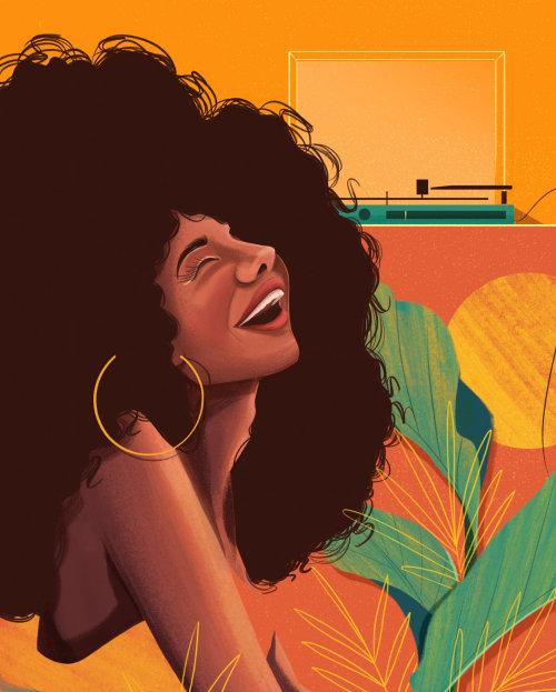 Arte contemporáneo de mujer sonriente