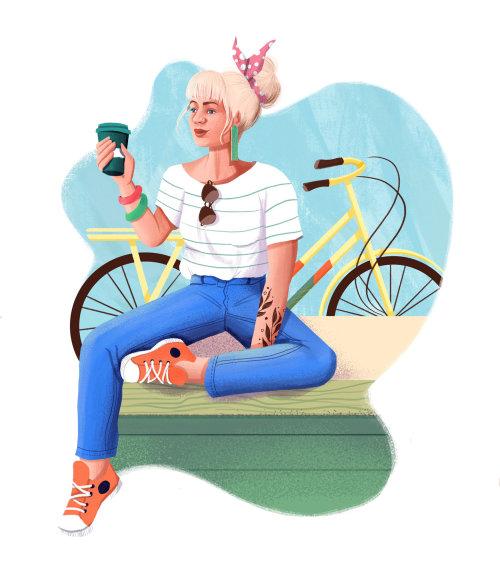 Ilustración de mujer de moda para el sitio web Grão Gourmet