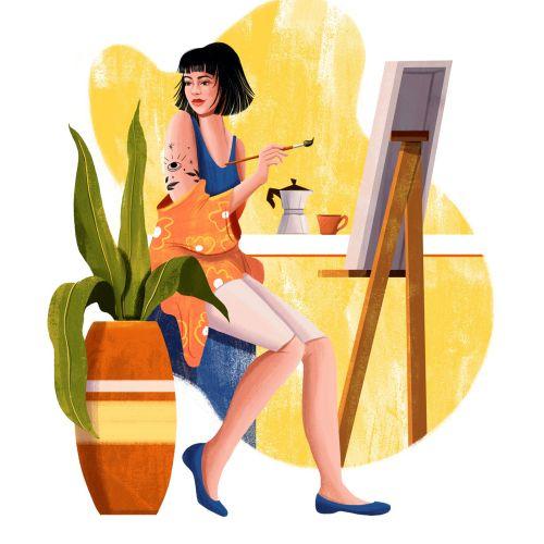 Fashion girl live painting for Grão Gourmet website