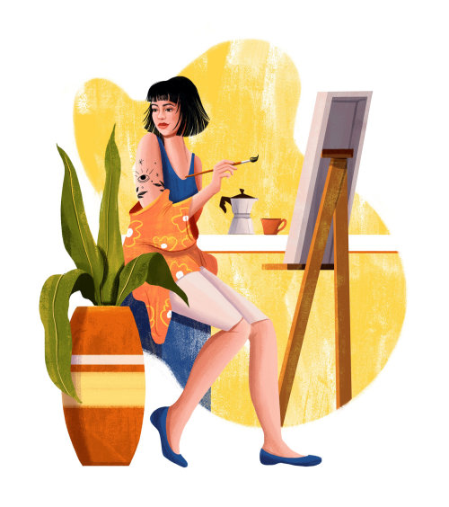 Pintura en vivo de chica de moda para el sitio web de Grão Gourmet