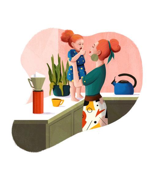 Ilustración del feliz día de la madre para el sitio web Grão Gourmet
