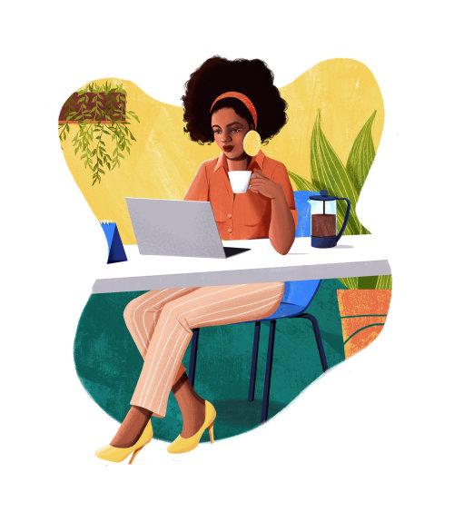 Ilustración de la oficina en casa para el sitio web de Grão Gourmet