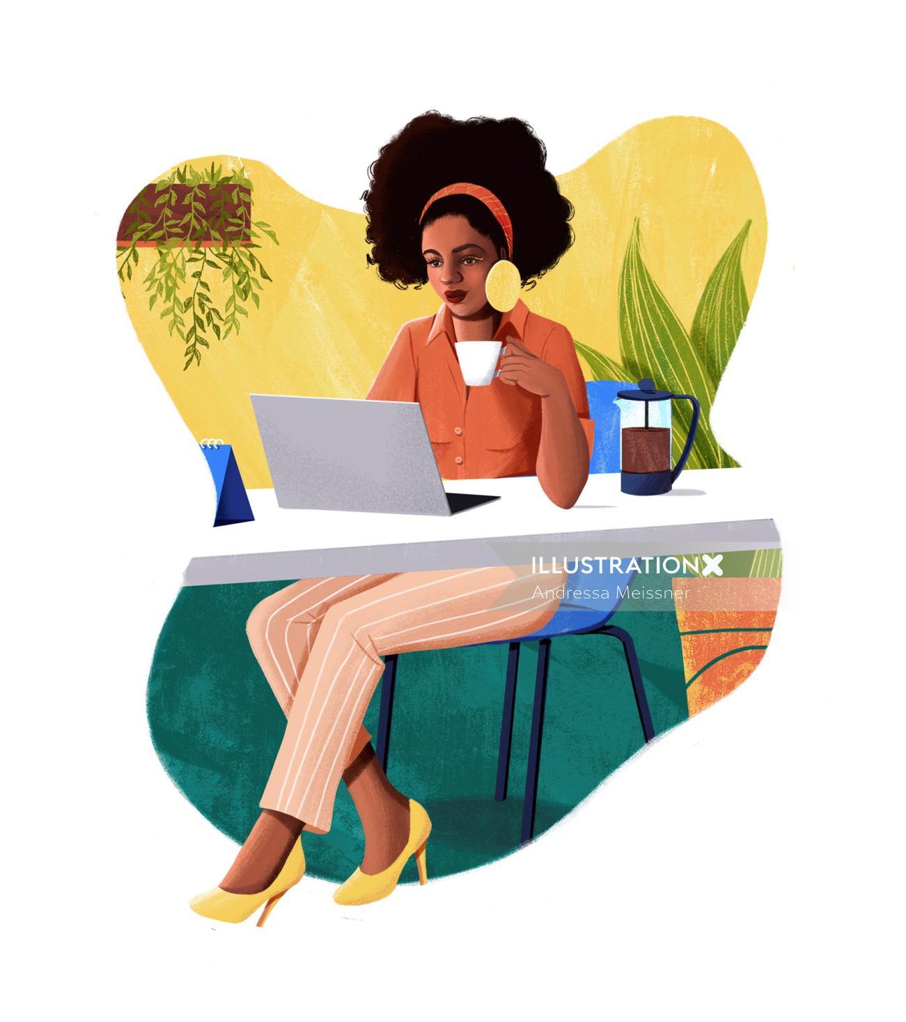 Home office illustration for Grão Gourmet website