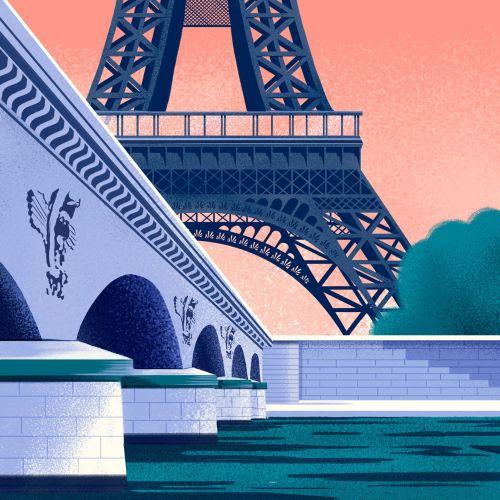 Eiffel tower view from Seine river in Paris