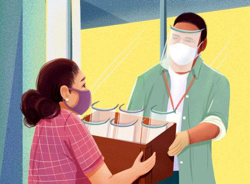Distribución de protector facial durante la pandemia de Covid
