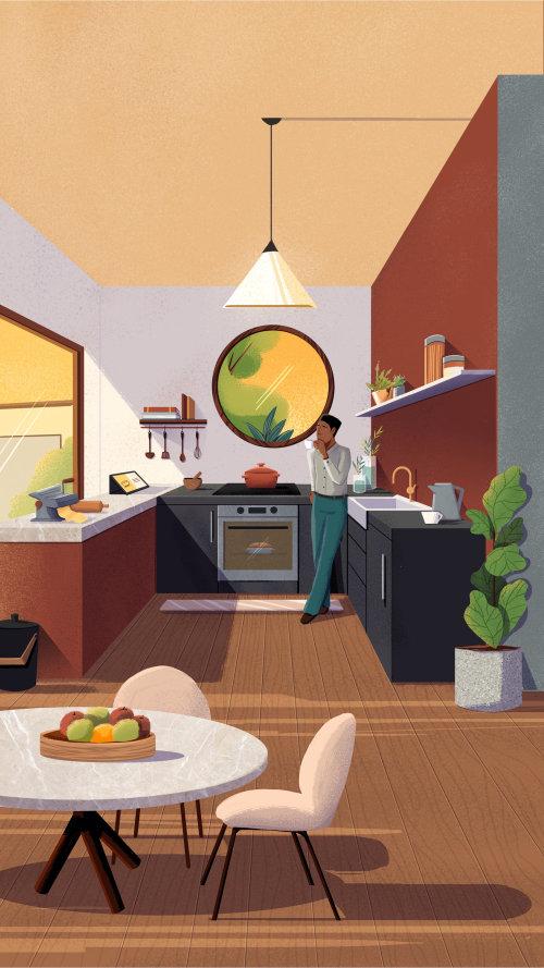 Interiores de cocinas modernas para la campaña Espaços do Futuro