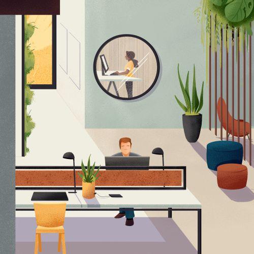 Beautiful workspace interior design for Espaços do Futuro campaign