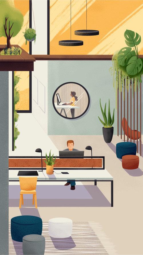 Hermoso diseño interior del espacio de trabajo para la campaña Espaços do Futuro
