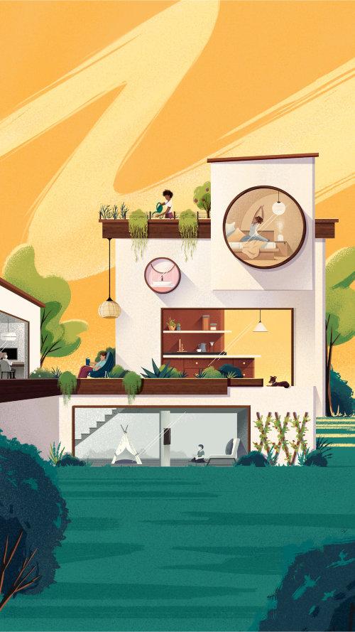 Diseño de casa de arquitectura para la campaña Espaços do Futuro