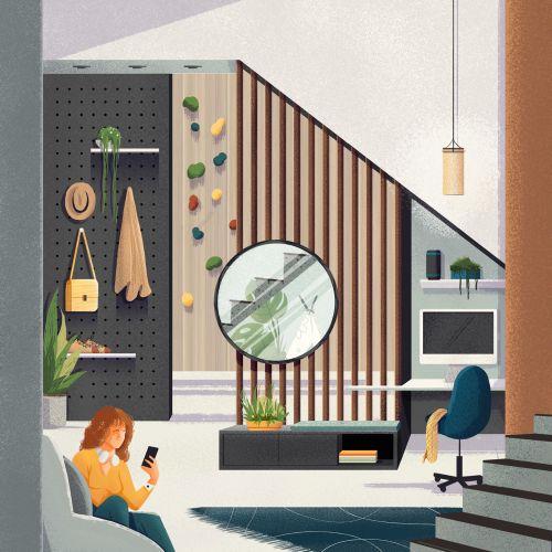 modern living room illustration for Espaços do Futuro campaign