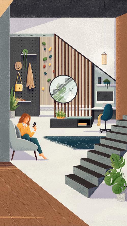 Ilustración de sala de estar moderna para la campaña Espaços do Futuro