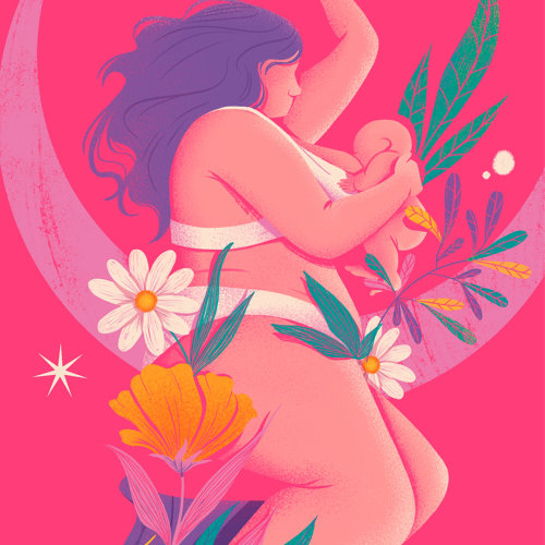 Ilustración editorial de mujer amamantando