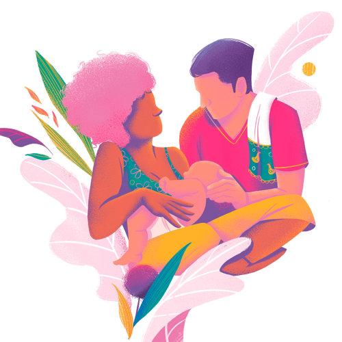 Ilustración de lactancia materna para el libro A Incrível Jornada