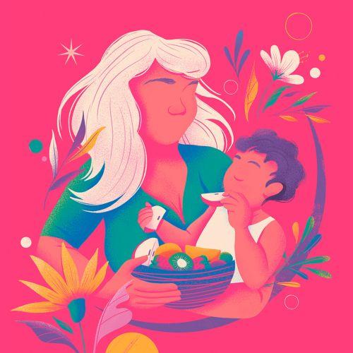 Mother feeding her baby conceptual art