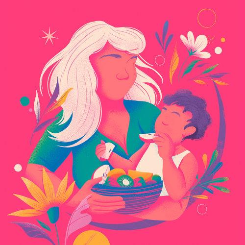 Madre alimentando a su bebé arte conceptual