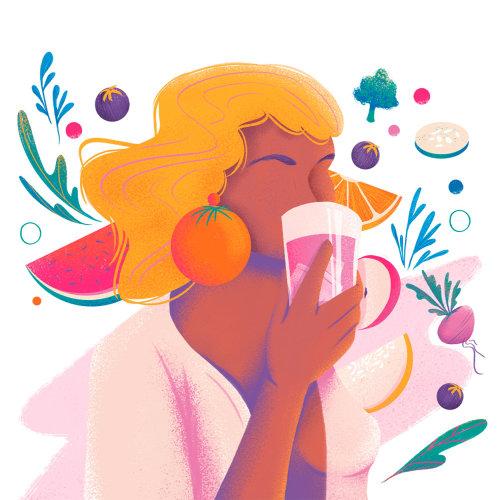 Dieta saludable para el embarazo ilustrada por Andressa Meissner