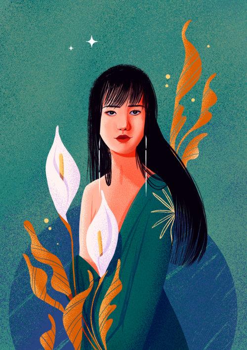 Retrato de figura de moda para calendario temático femenino
