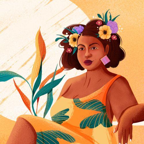 Bold Girl illustration for women calendar 2021