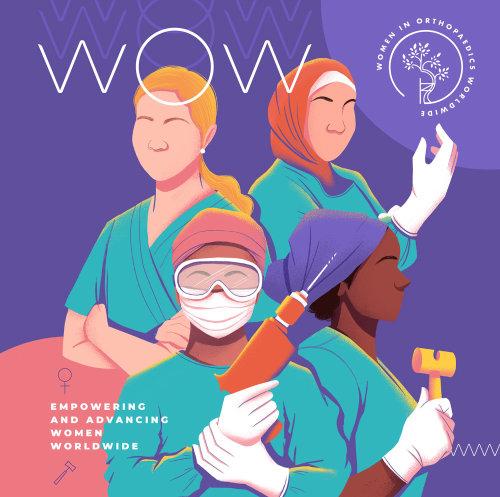 Diseño de cartel de Mujeres en ortopedia en todo el mundo