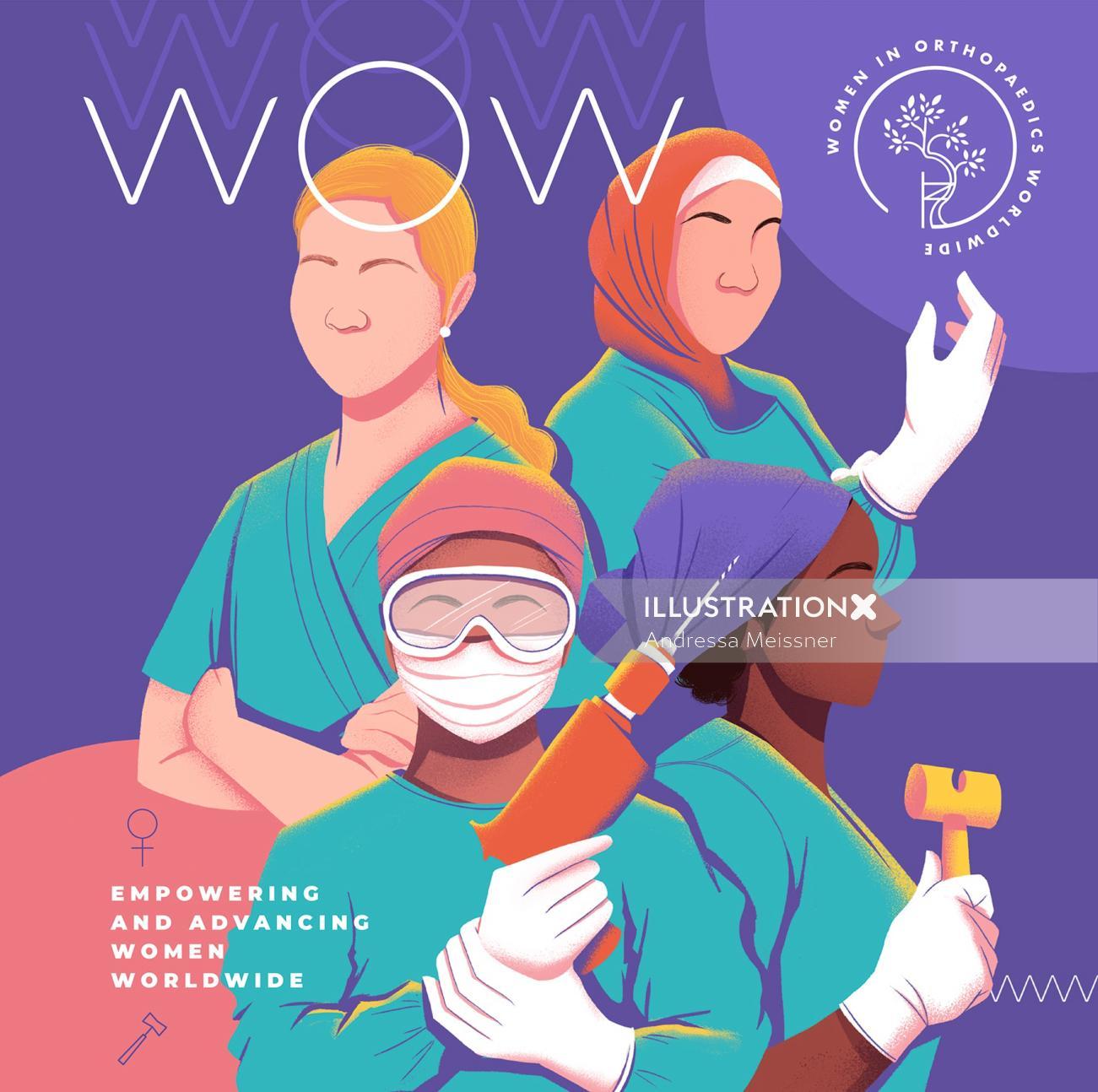 Poster design of Women in Orthopedics Worldwide