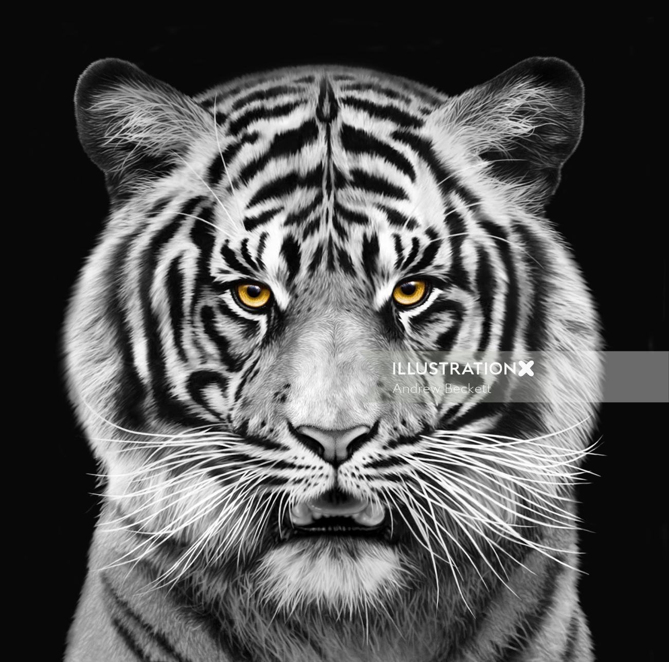 Tiger portrait art for Saatchi Germany