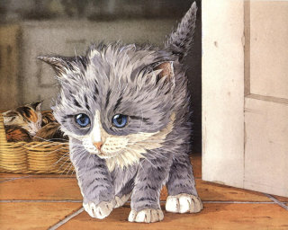 Watercolour painting of cute kitten