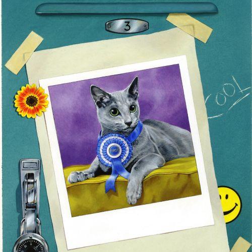 An acrylic portrait of a Cat
