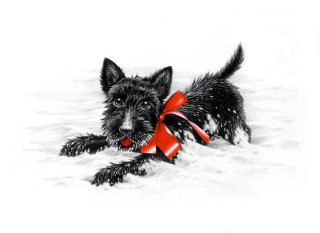 Photorealistic black dog in snow