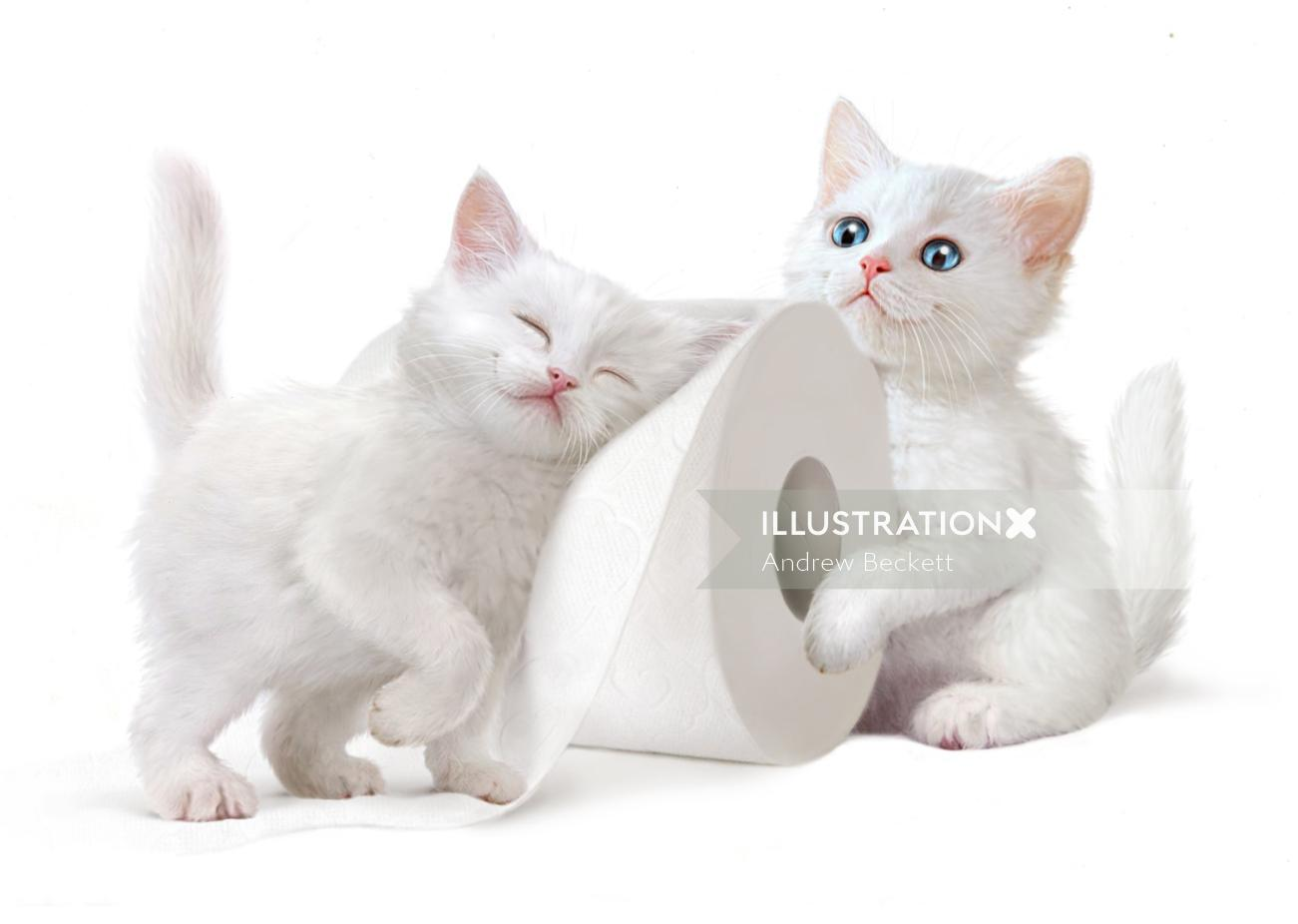 White cats playing - An illustration by Andrew Beckett