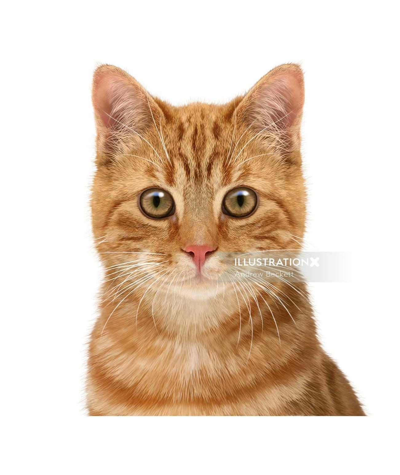 Photorealistic painting of brown cat