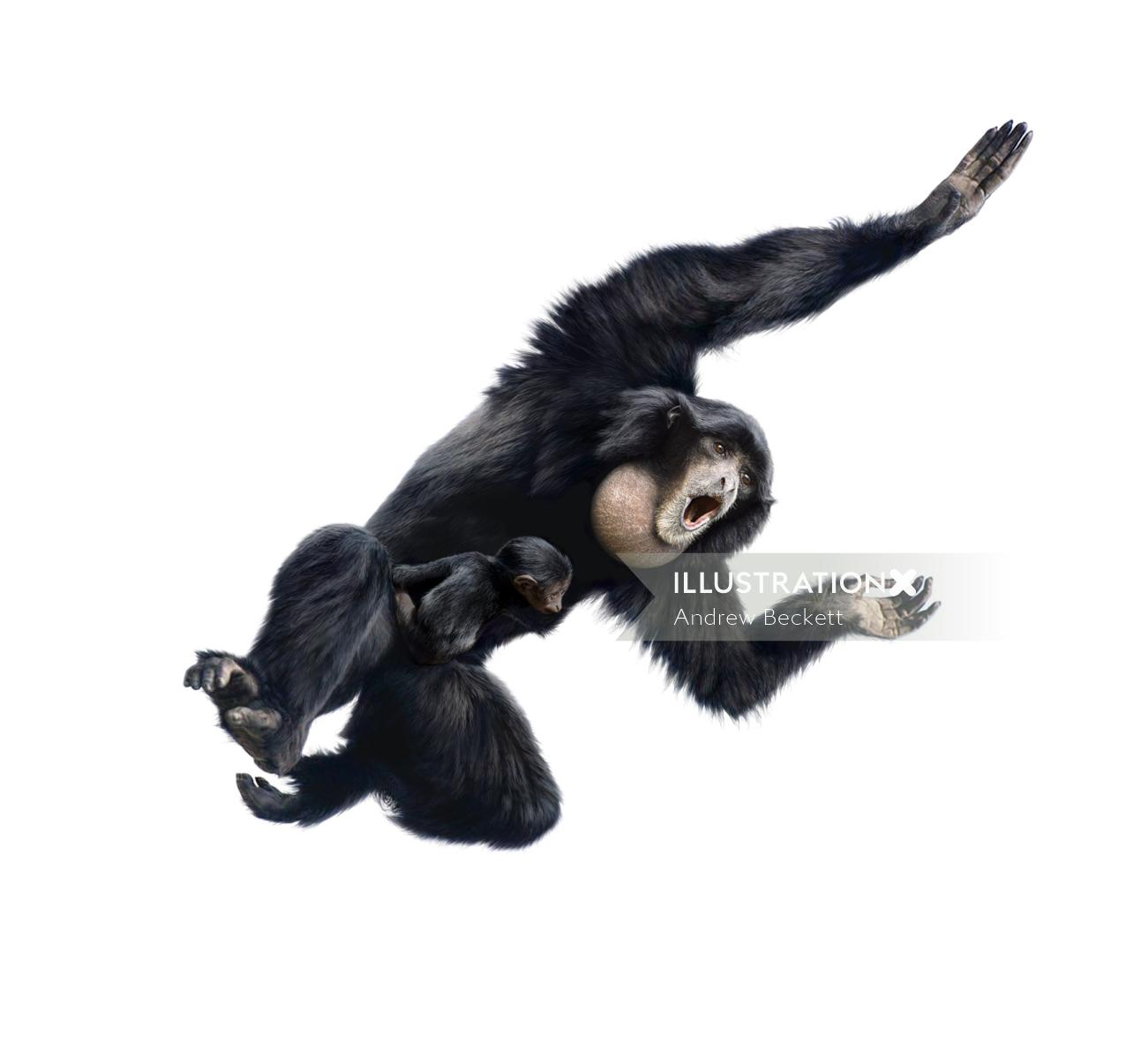 Illustration of a Chimpanzee with her baby