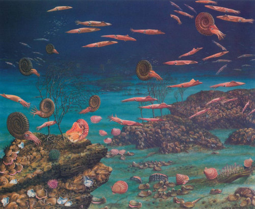 Underwater Deep Sea with various water creatures - painting by Andrew Hutchinson
