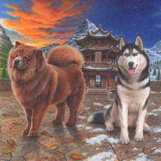 China dog illustration