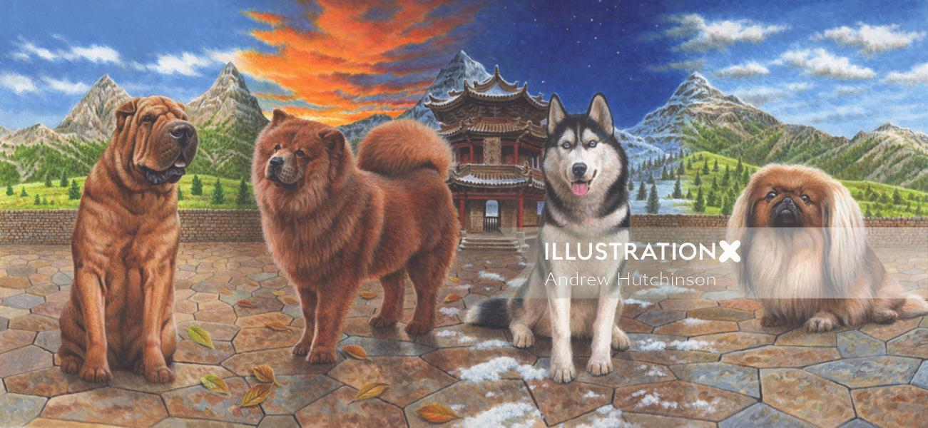 China dog illustration