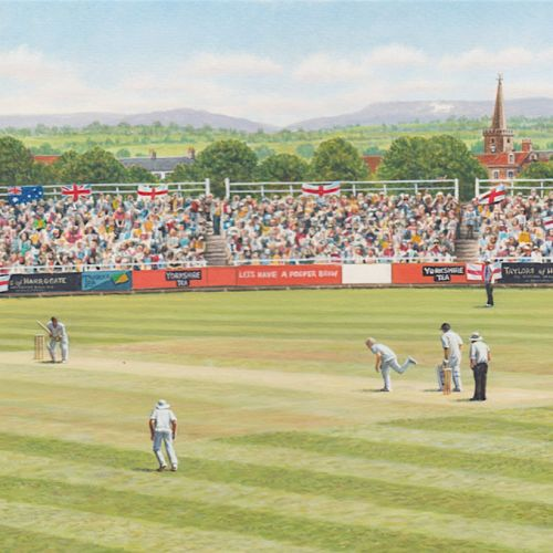 Yorkshire tea cricket box illustration by Andrew Hutchinson