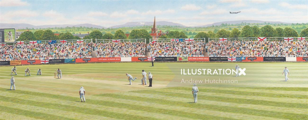 Yorkshire tea cricket box illustration by Andrew Hutchinson