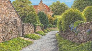 village lane design for Jacquie Lawson cards