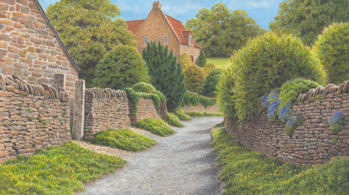village lane design for Jacquie Lawson cards