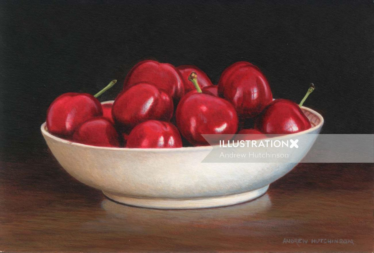 Porcelain bowl of cherries, Food Images © Andrew Hutchinson