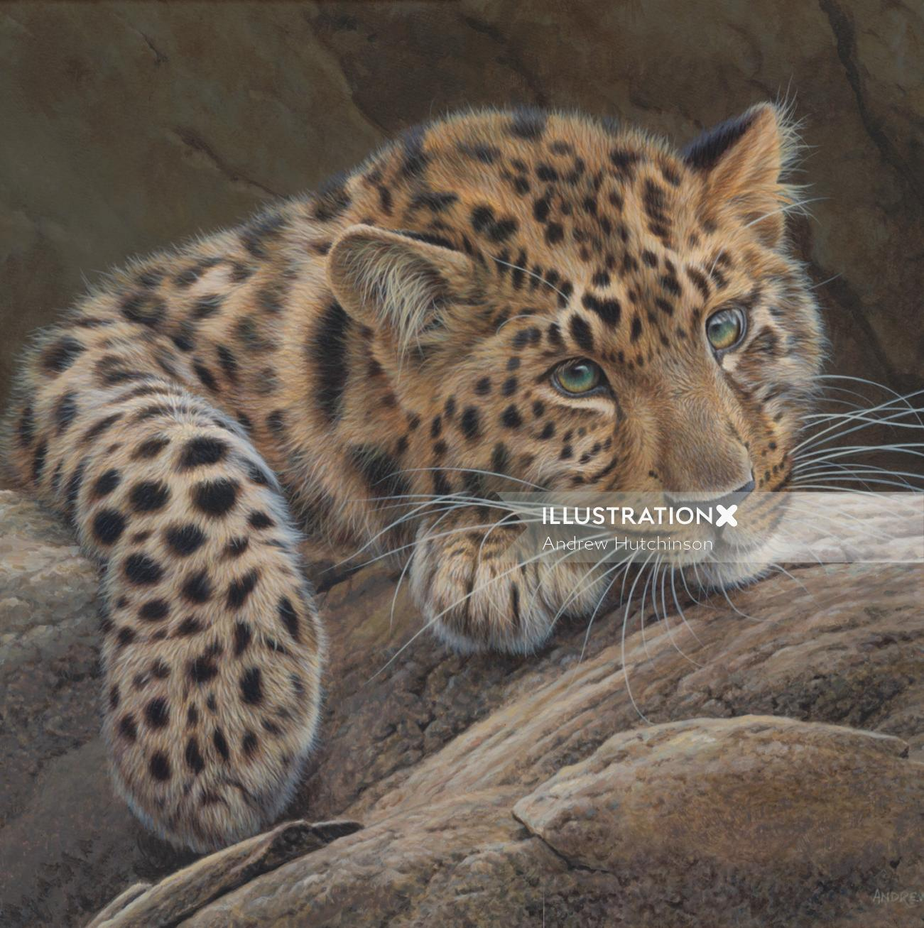 Acrylics cheetah painting  by Andrew Hutchinson