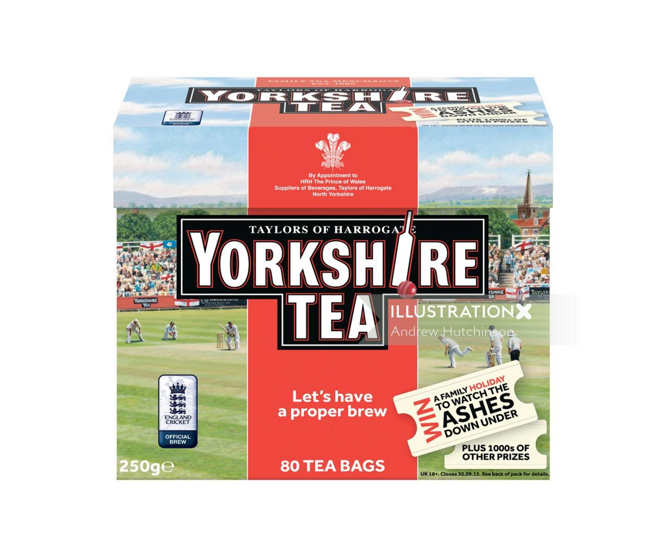 Yorkshire tea pack illustration by Andrew Hutchinson